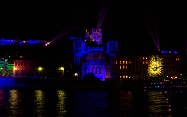 Illuminations in Lyon - St John's cathedral and Fourviere in purple (2005)