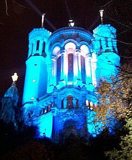 Illuminations in Lyon - Fourviere basilica in blue (2005)