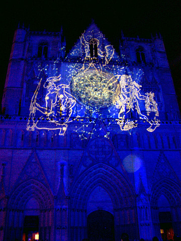 Illuminations in Lyon - St John's cathedral in blue (2005)