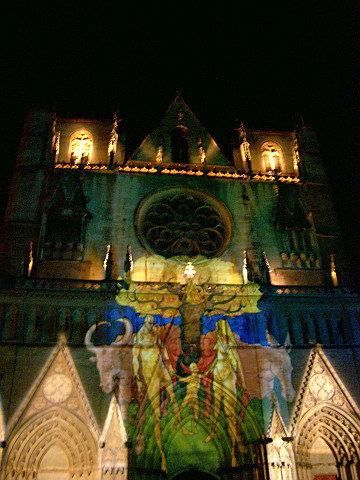 Illuminations de Lyon - Projection sur la cathédrale Saint-Jean (2005)