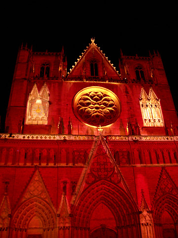 Illuminations in Lyon - St John's cathedral in red (2005)