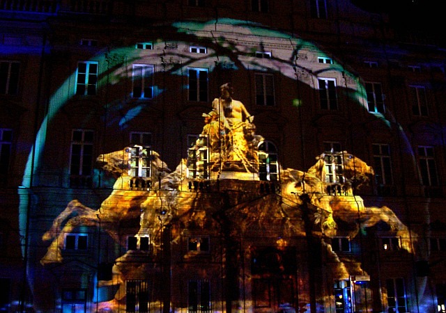 Illuminations in Lyon - Projection on the fountain of Terreaux square (2008)