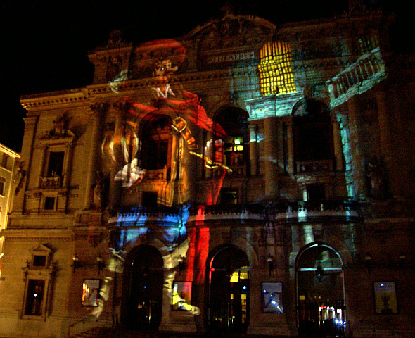 Illuminations in Lyon - Projection of Cyrano de Bergerac (Edmond Rostand) on theatre of Célestins (2008)