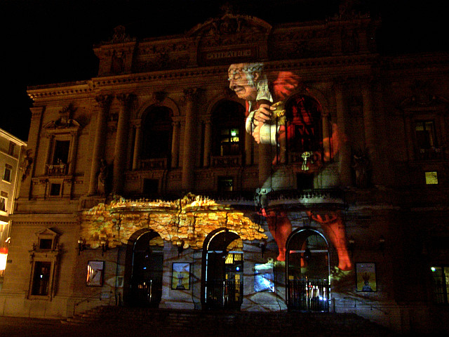 Illuminations in Lyon - Projection of the Miser (Molière) on theatre of Célestins (2008)