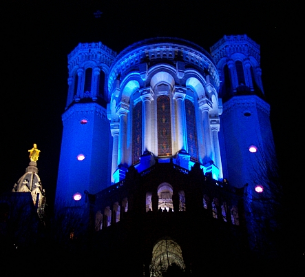 Illuminations in Lyon - Fourviere basilica in blue (2008)