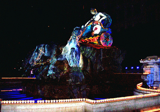 Illuminations in Lyon - Statue of Terreaux square (2010)