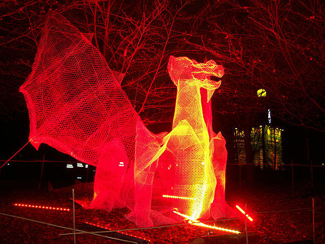 Illuminations in Lyon - Dragon in Tête d'or park (2011)